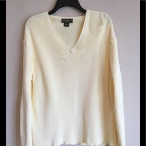 Yellow Cotton V Neck Sweater Eddie Bauer